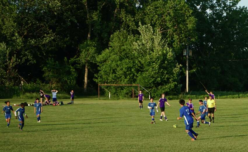 The RISSE Soccer Team plays against the New Scotland Eagles at Hoffman Park in Albany, N.Y. on Wednesday, May 30, 2018. (Massarah Mikati / Times Union)