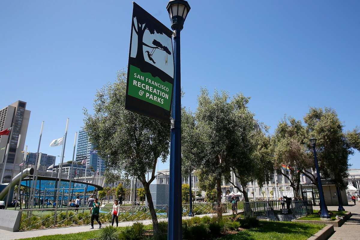 Civic Center Plaza in San Francisco, Ca., as seen on Tues. May 29, 2018. A bond measure is on the ballot that would fund city park improvements and maintenance.