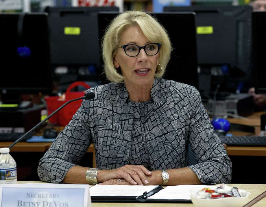 Education Secretary Betsy DeVos speaks during a visit of the Federal School Safety Commission at Hebron Harman Elementary School in Hanover, Md., Thursday, May 31, 2018. DeVos is considering whether to allow states to use federal funding intended to increase academic and enrichment opportunities in the country's poorest schools to purchase guns for educators, according to sources. Photo: Jose Luis Magana, FRE / Associated Press / FR159526 AP