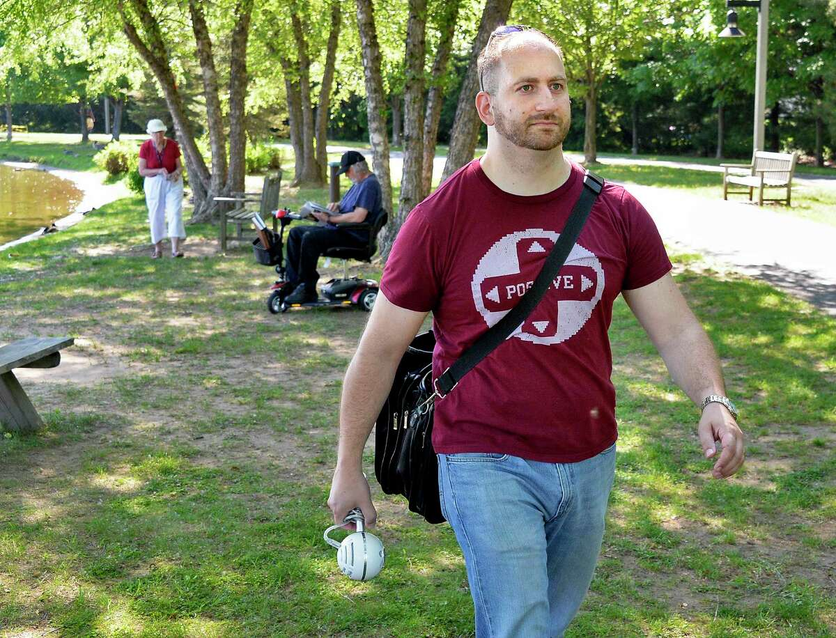 Podcaster Anthony Rossi of Videogame Crosstalk takes his recording equipment to The Crossings Tuesday May 29, 2018 in Colonie, NY. (John Carl D'Annibale/Times Union)