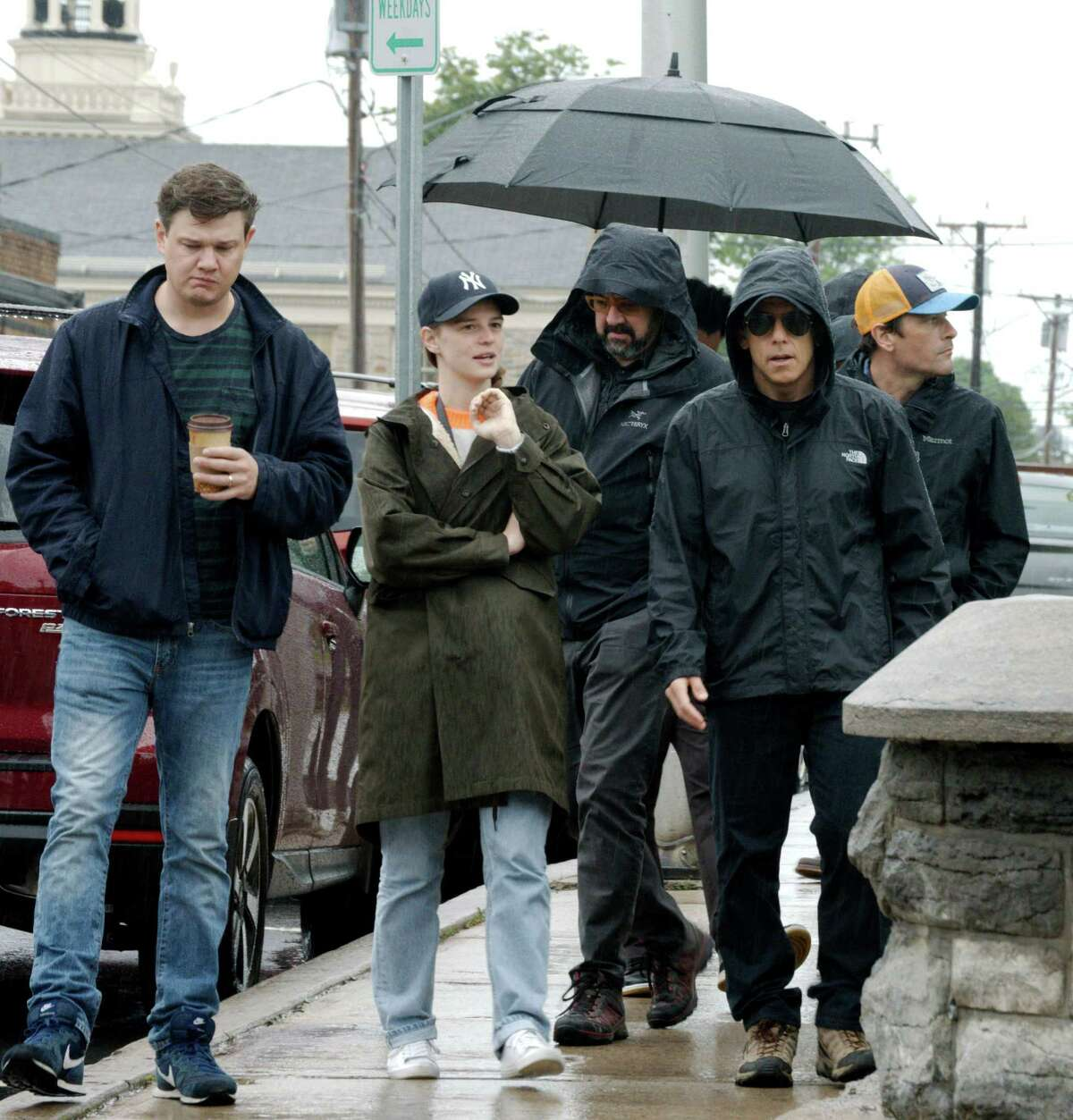 Ben Stiller, right, scouts locations in Malone, N.Y., for ?