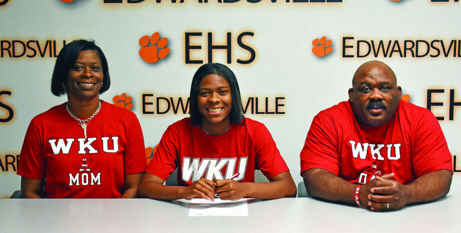 EHS senior Myriah Noodel-Haywood will play women's basketball for Western Kentucky. Seated from left to right are Phillis Haywood, mother, Myriah Noodel-Haywood and Marceo Haywood, father.
