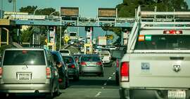 Vehicles on the Richmond/San Rafael Bridge freeways during rush hour in Richmond, Calif. are seen on March 29th, 2018.