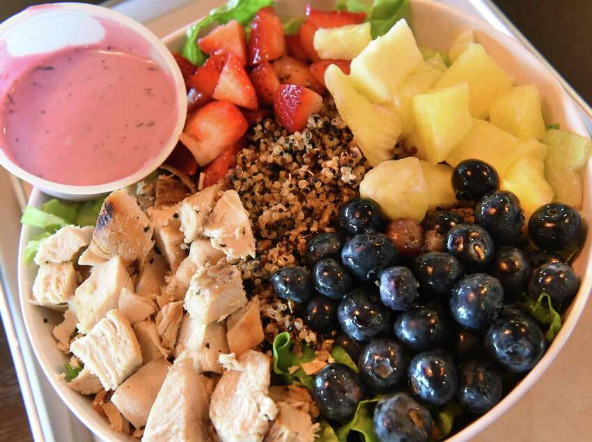 The summer berry quinoa chicken bowl at CoreLife Eatery on opening day on Thursday, May 31, 2018 in Clifton Park, N.Y. (Lori Van Buren/Times Union)