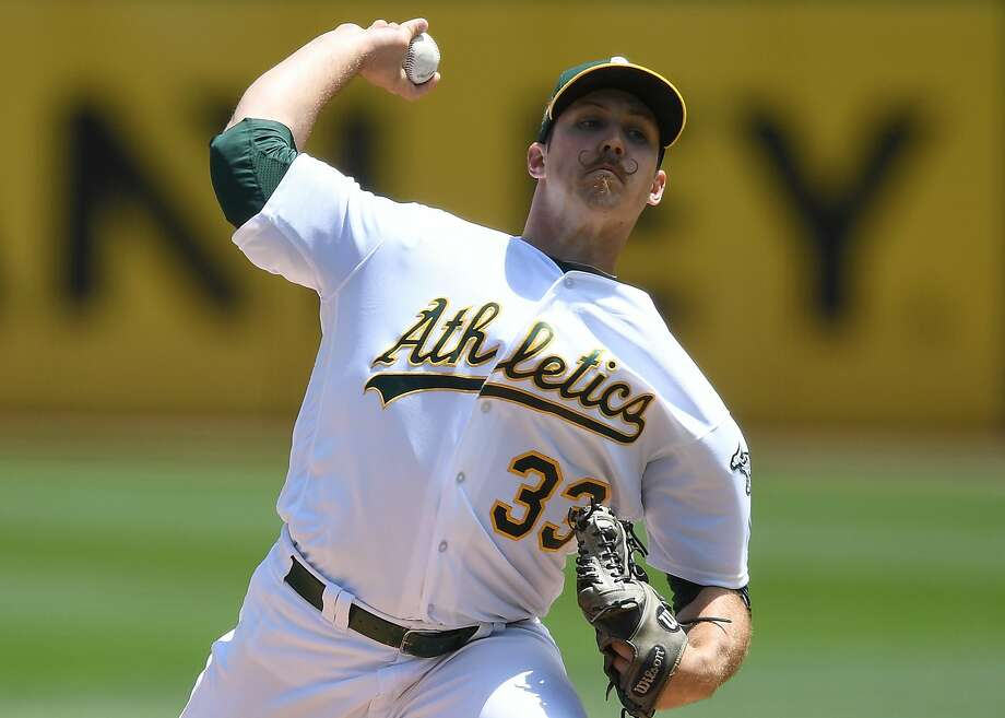 OAKLAND, CA - MAY 31:  Daniel Mengden #33 of the Oakland Athletics pitches against the Tampa Bay Rays in the top of the first inning at the Oakland Alameda Coliseum on May 31, 2018 in Oakland, California.  (Photo by Thearon W. Henderson/Getty Images) Photo: Thearon W. Henderson / Getty Images
