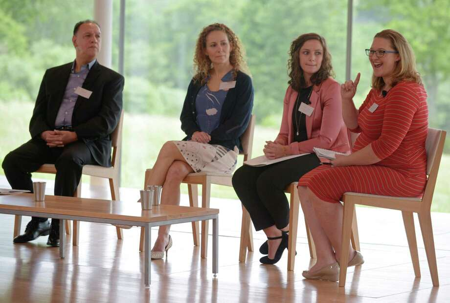 Val Ramos of Everyday Democracy, Anka Badurina of Building One Community, Maddie Granato of CT Women's Education and Legal Fund and Laura McCargar of The Perrin Family Foundation participate in a panel discussion as The Fairfield County Community Foundation hosts Advocacy Day Thursday, May 31, 2018, at Grace Farms in New Canaan, Conn. Roughly 120 area nonprofits gathered to discuss what it takes to operate as a nonprofit in todays competitive climate. Photo: Erik Trautmann / Hearst Connecticut Media / Norwalk Hour