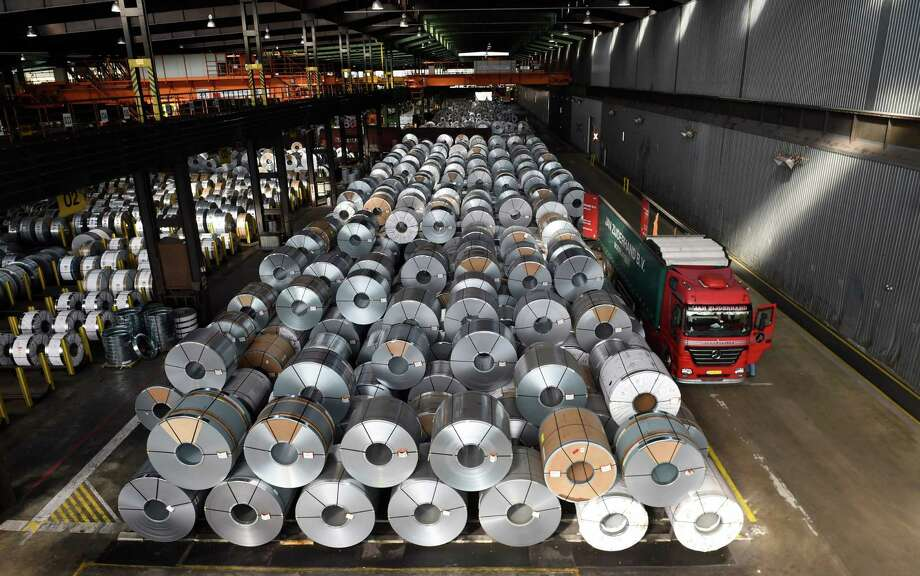 """In this file photo taken on March 17, 2015 Coils are stored for delivery at the production site of German steel technology group Salzgitter AG in Salzgitter. The European Union will announce within hours steps to retaliate against harsh US tariffs on steel and aluminium imports from the bloc, EU chief Jean-Claude Juncker said on May 31, 2018. The 28-nation bloc """"will announce in the next coming hours counter-balancing measures,"""" Juncker told a conference in Brussels after Washington said its new tariffs would be effective from 0400 GMT on June 1, 2018. Photo: TOBIAS SCHWARZ /AFP /Getty Images / AFP or licensors"""