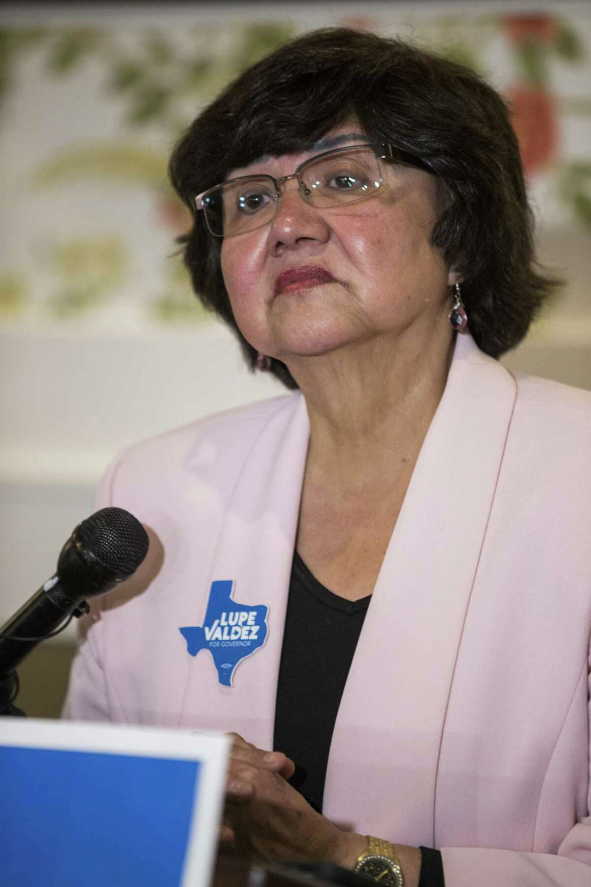 Gubernatorial candidate and former Dallas County Sheriff Lupe Valdez speaks after her runoff win at a Democratic party celebration at Ellen's in Dallas.