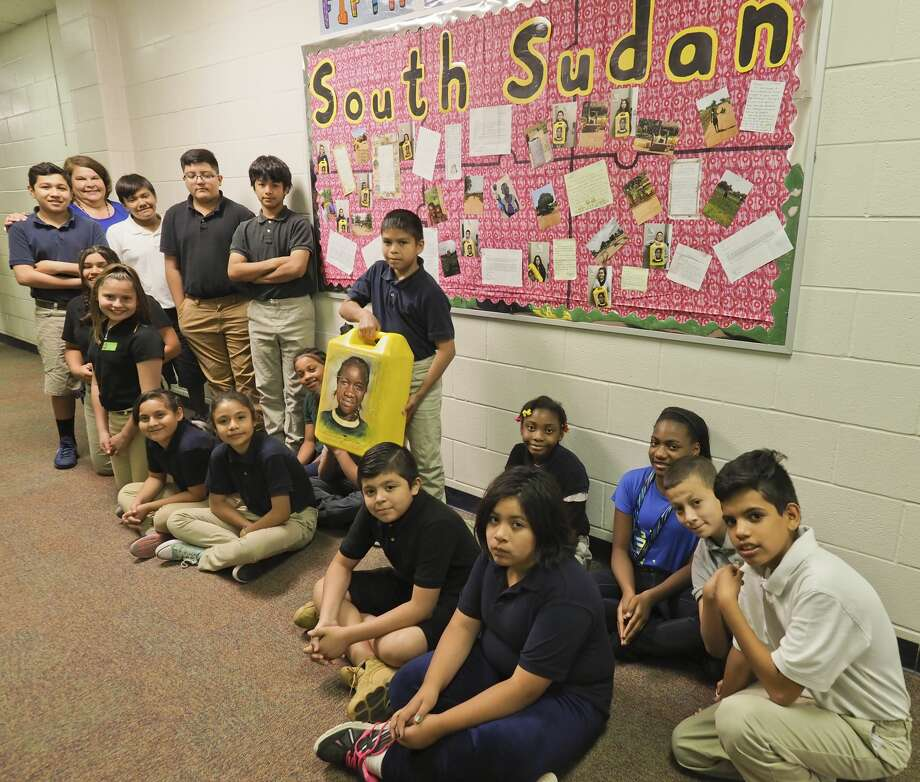 Leslie Stigall and the fifth grade class at South Elementary have been learning about and raising money to build water wells in South Sudan. 05/31/18 Tim Fischer/Reporter-Telegram Photo: Tim Fischer/Midland Reporter-Telegram