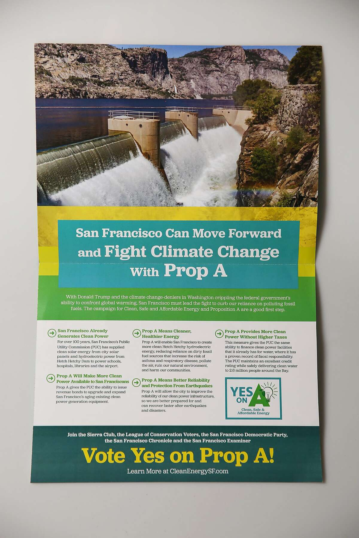 Mailer paid for by Clean, Safe & Affordable Energy, Yes on A Committee major funding by AECOM Technology Corporation, Wednesday, May 30, 2018, in San Francisco, Calif.