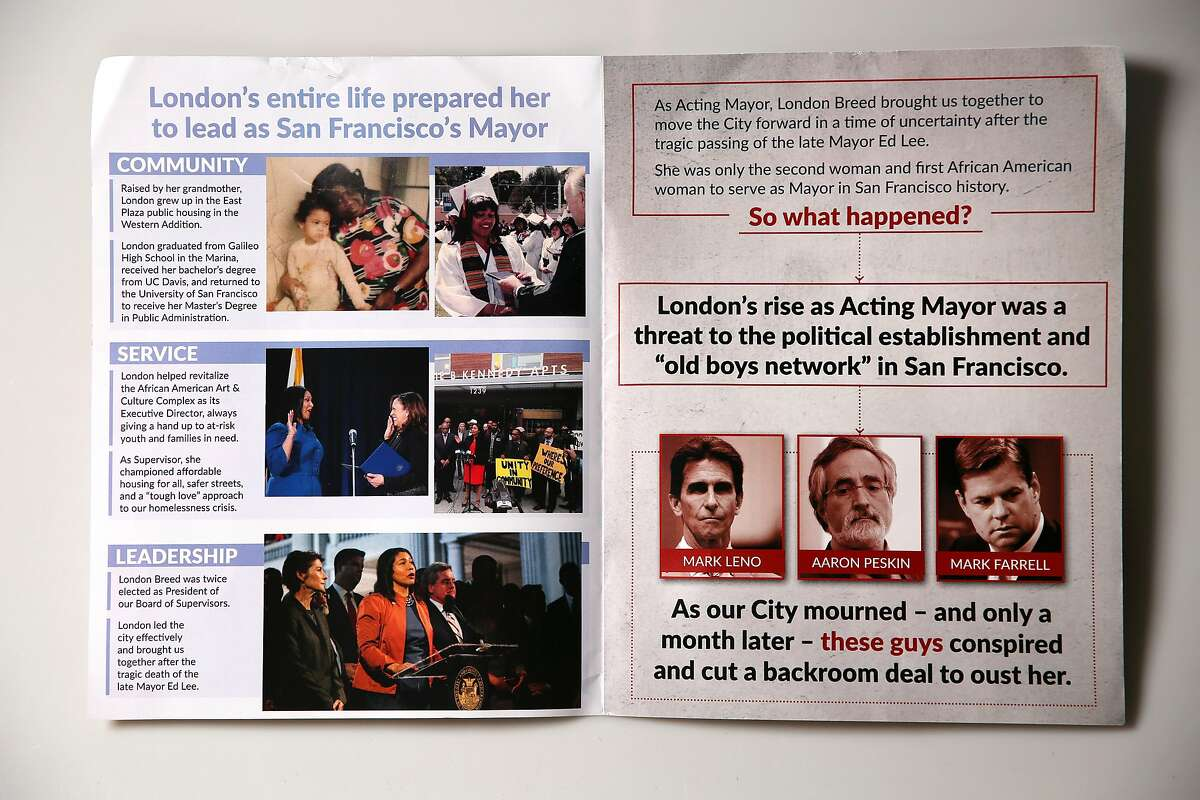 Mailer paid for by the It�s Our Time, SF Women Supporting London Breed for Mayor, 2018, Wednesday, May 30, 2018, in San Francisco, Calif.