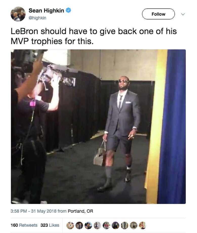 87c9e89062d LeBron James surprised before Game 1 of the 2018 NBA Finals with his  shorts-and