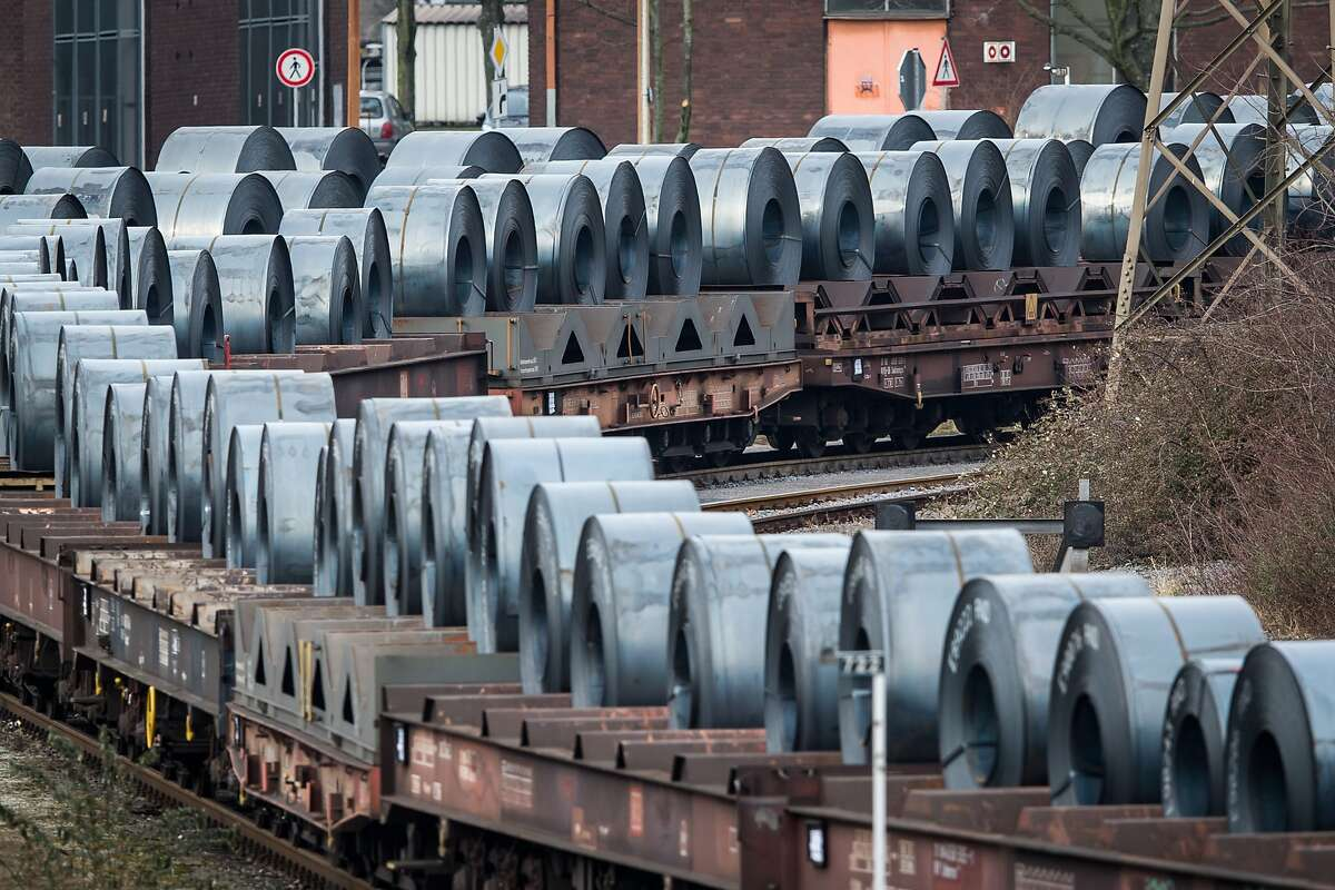 Coils of steel stand on trains in front of the ThyssenKrupp steel mill on March 5, 2018 in Duisburg, Germany. Tensions between U.S. President Donald Trump and the European Union are rising after Trump announced he would respond to any E.U. tariffs on American goods with U.S. tariffs on European cars. Trump originally sought tariffs on imports of steel and aluminum, to which EU officials said they would respond with tariffs on U.S. jeans, motorcycles and bourbon. The European Union and Canada are the two biggest exporters of steel to the United States. (Photo by Lukas Schulze/Getty Images)