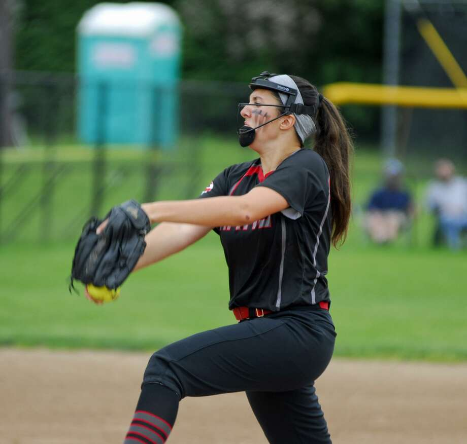 Cheshire pitcher Natalie Amato tosses a pitch during a game against NFA on Thursday. Photo: Ryan Lacey /Hearst Connecticut Media