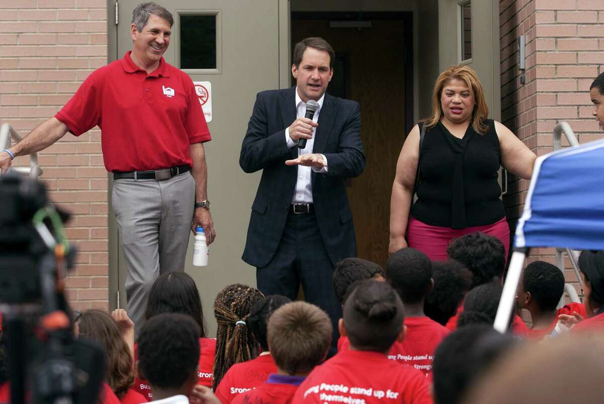 Hundreds of kids listen to Rep. Jim Himes speak as they attend an Anti-Bullying & Anti-Violence Youth Rally at Hall Neighborhood House in Bridgeport, Conn., on Thursday, May 31, 2018. Congressman Himes joined the rally to help discuss steps that students, parents, schools, and community leaders can take to create safe school environments and build community-wide strategies to help prevent bullying.