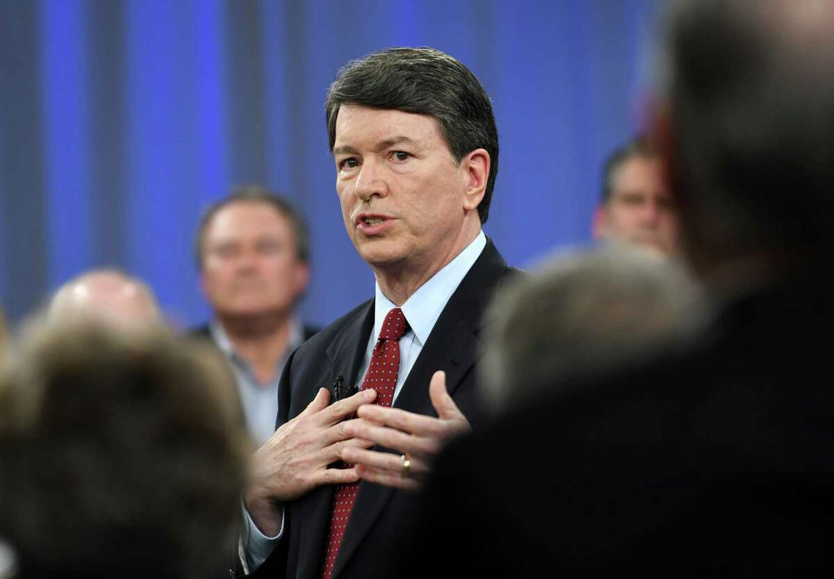 Rep. John Faso, R-Kinderhook, takes part in a televised town hall event moderated by Matt Ryan of New York Now and the Times Union's Casey Seiler at the WMHT studio on Thursday, April 13, 2017 in Troy, N.Y. (Lori Van Buren / Times Union)