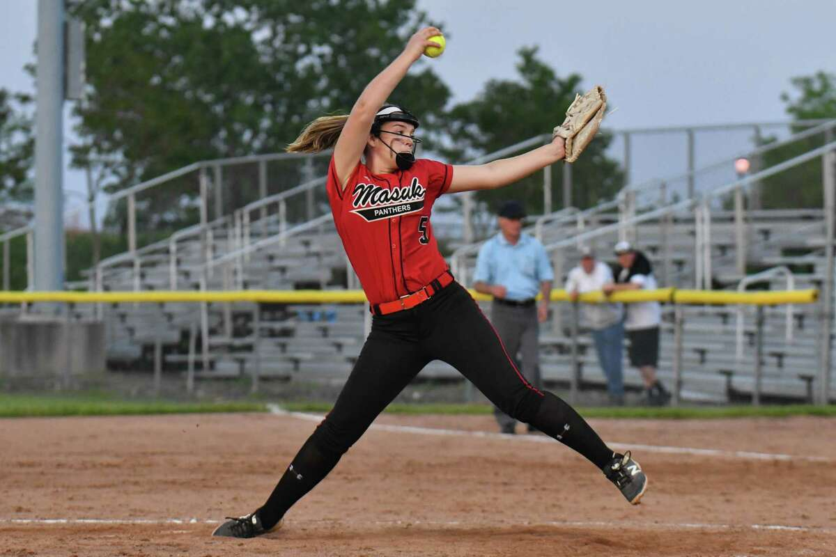 Starting Pitcher Samantha Schiebe (5) of the Masuk Panthers delivers a pitch during the SWC Championship Game against the Newtown Nighthawks on Friday May 25, 2018, at DeLuca Field in Stratford, Connecticut.