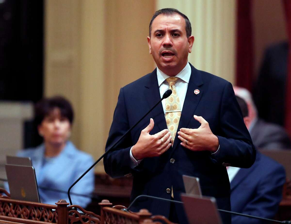 California Senator Tony Mendoza announce that he will take a one month leave of absence during the investigation of his alleged sexual misconduct during session at State Capitol in Sacramento, Calif., on Wednesday, January 3, 2018.