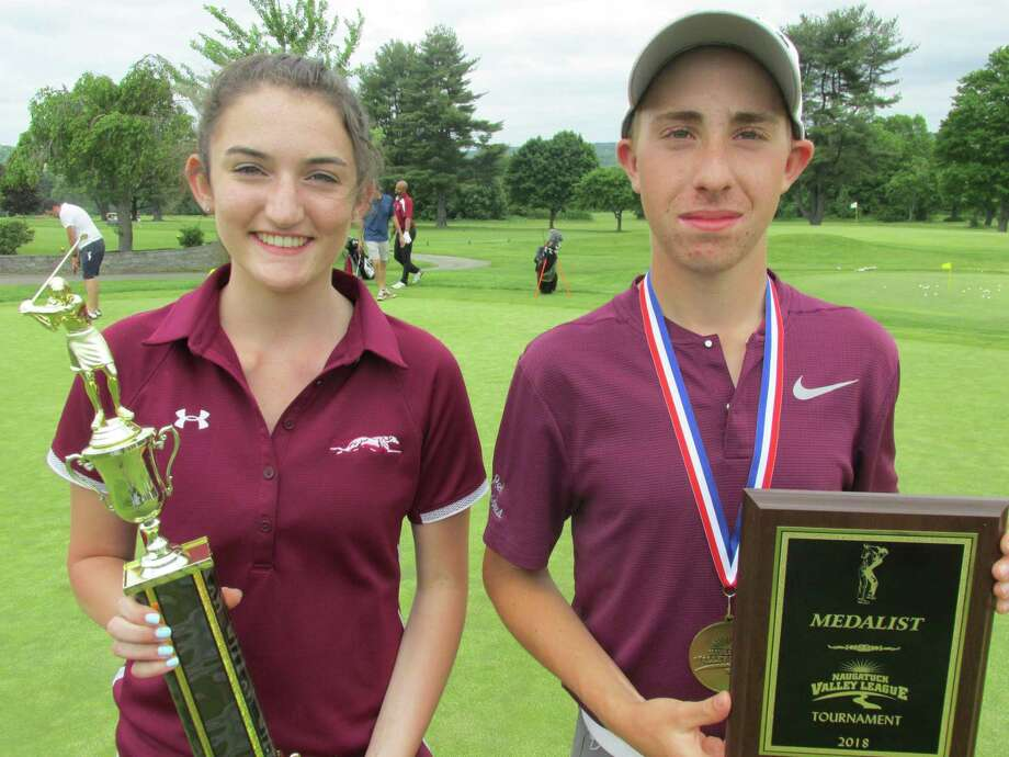 Naugatuck's Meghan Korowotny and Torrington's Jon Ledda won the girls and boys individual scoring titles at the NVL tournament at Watertown Golf Club on Thursday. May 31, 2018. Photo: Peter Wallace / For Hearst Connecticut Media / Peter Wallace / For Hearst Connecticut Media / Stamford Advocate Contributed