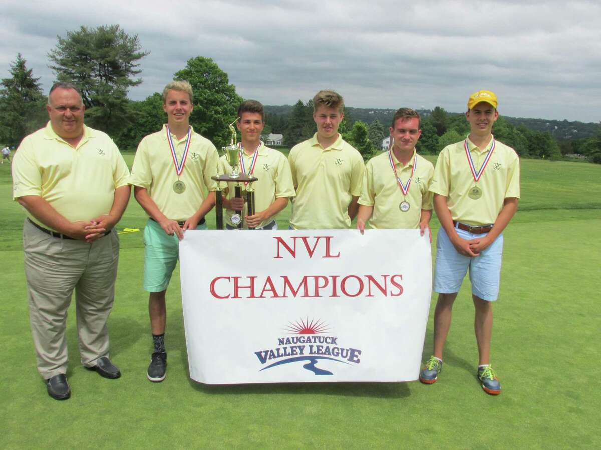 Holy Cross defended its NVL golf crown on Thursday, May 31, 2018 at the Watertown Golf Club. Left to right: Coach John Egan, Alex Ford, Vincent Graziano, Tom Moran, Michael Mencio, Chris Ford.