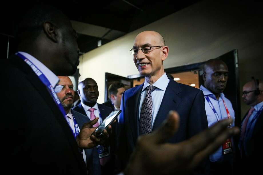 NBA Commisioner Adam Silver chats with the media at Oracle Arena ahead of Game 1 of the The NBA Finals between the Golden State Warriors and the Cleveland Cavaliers in Oakland, California, on Thursday, May 31, 2018. Photo: Gabrielle Lurie / The Chronicle