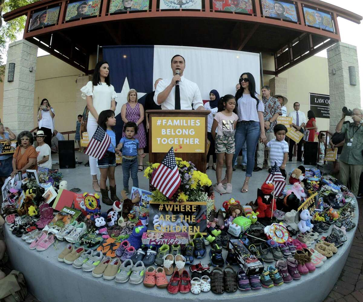 U.S. Rep. Joaquin Castro speaks during the #WhereAreTheChildren rally in support of immigrant children and families at the at the Guadalupe Cultural Center on Thursday, May 31, 2018. Groups participating included the Texas Organizing Project, MALC, and RAICES.