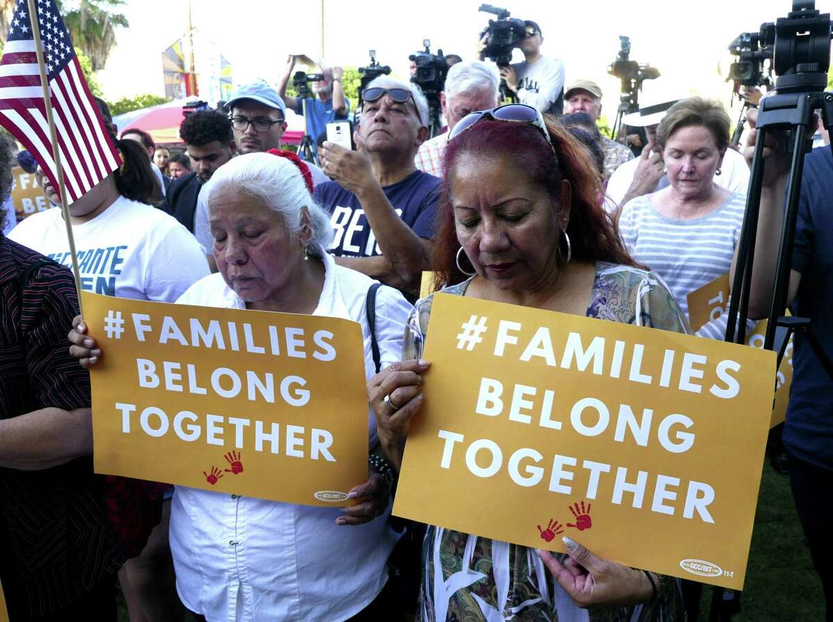 during a rally in support of immigrant children and families, led by U.S. Rep. Joaquin Castro, the Texas Organizing Project, MALC, RAICES and other groups, at the Guadalupe Cultural Center on Thursday, May 31, 2018.