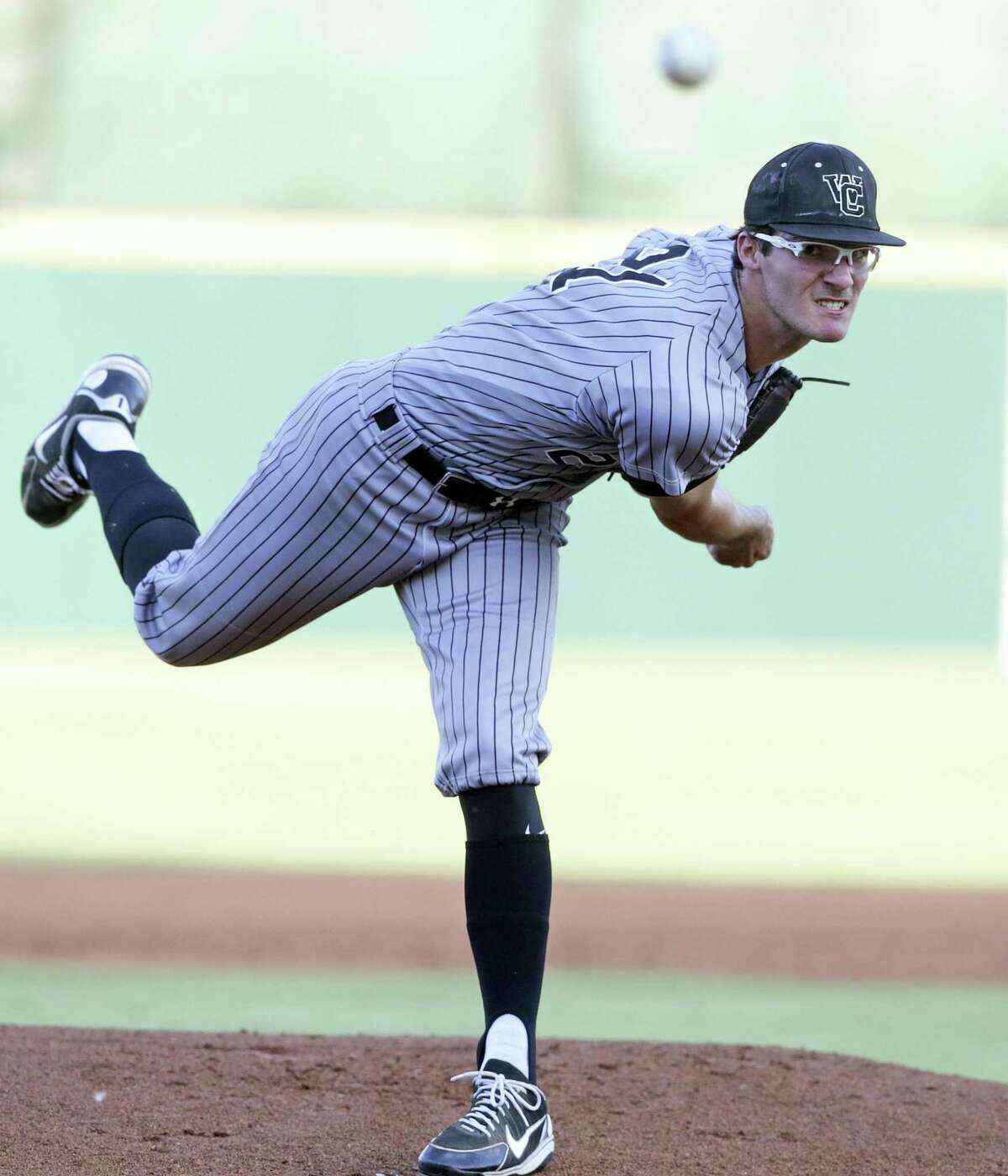Jack Neely pitches for the Chargers as Reagan plays Churchill at Wolff Stadium in game 1of the Region IV-6A championship on May 31, 2018.