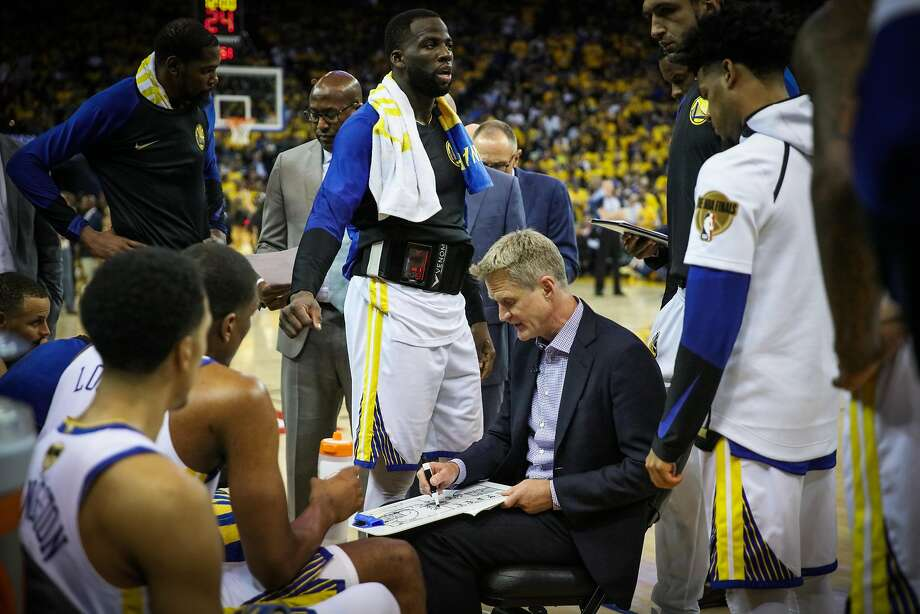 Head coach Steve Kerr during a time out in Game 1 of the The NBA Finals between the Golden State Warriors and the Cleveland Cavaliers in Oakland, California, on Thursday, May 31, 2018. Photo: Gabrielle Lurie / The Chronicle