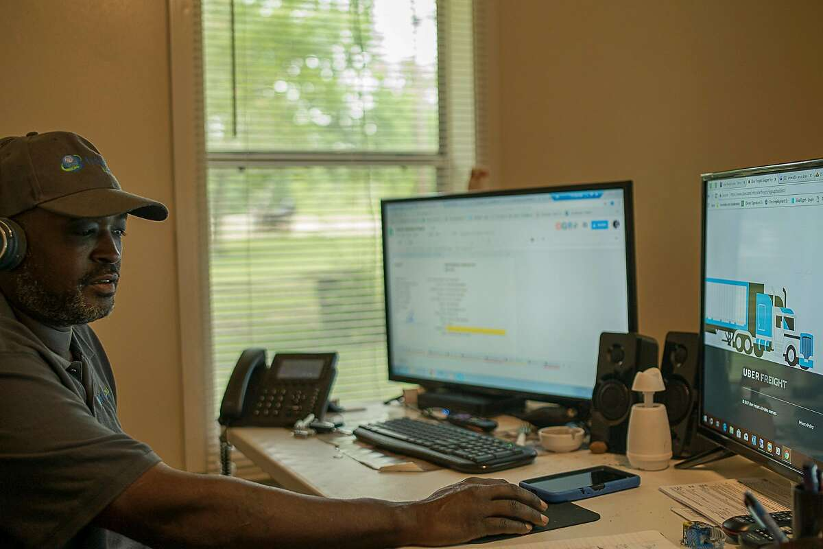Amir Shah, a truck owner-operator of Traveloko, at his home office. Mr. Shah runs most of his business entirely through Uber Freight in the Texas area works at his home in Cameron, Texas on Thursday May 24, 2018.