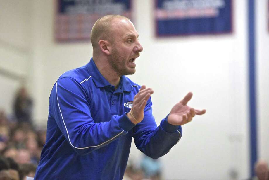 Danbury head coach casey Bock encourages his players as the Danbury boys host Trinity Catholic High School in Division 1 state tournament basketball on Saturday, March 10, 2018, at Danbury High School, in Danbury, Conn. Photo: H John Voorhees III / Hearst Connecticut Media / The News-Times