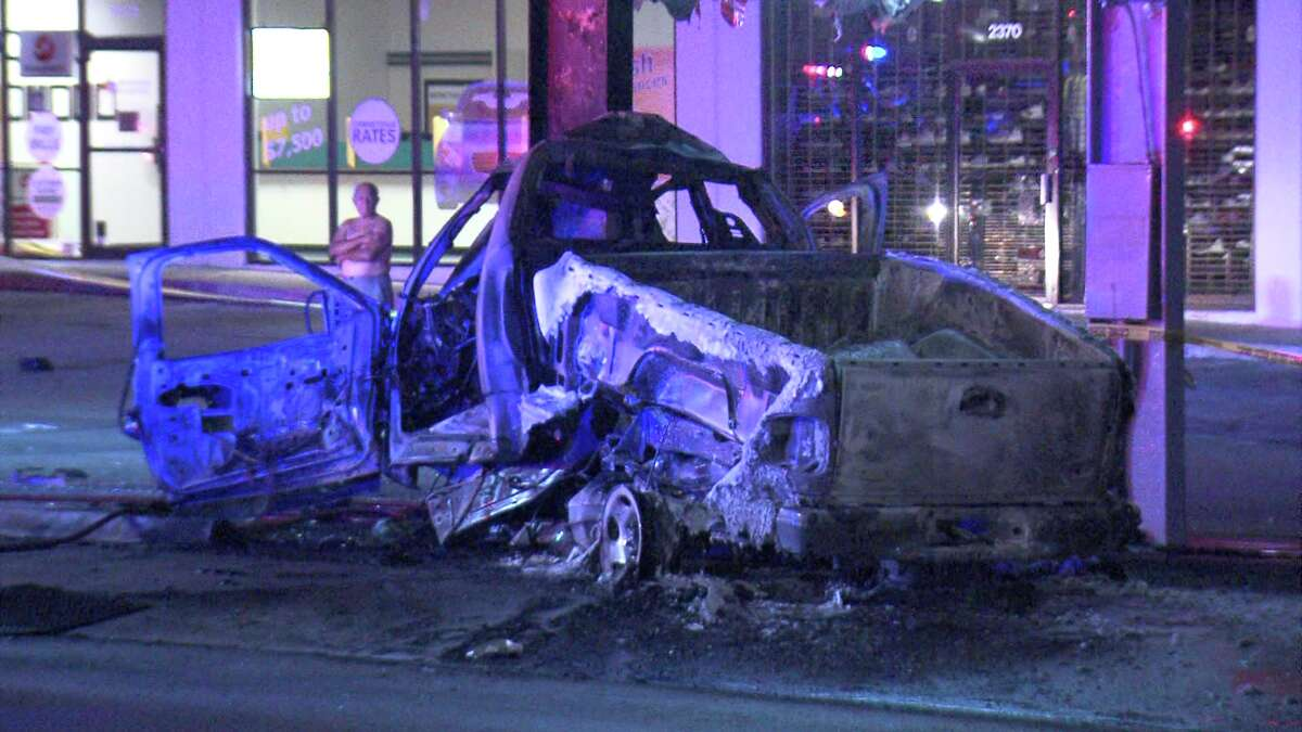 A man in his 70s was killed after he allegedly drove his truck into a shopping center sign on May 31, 2018.