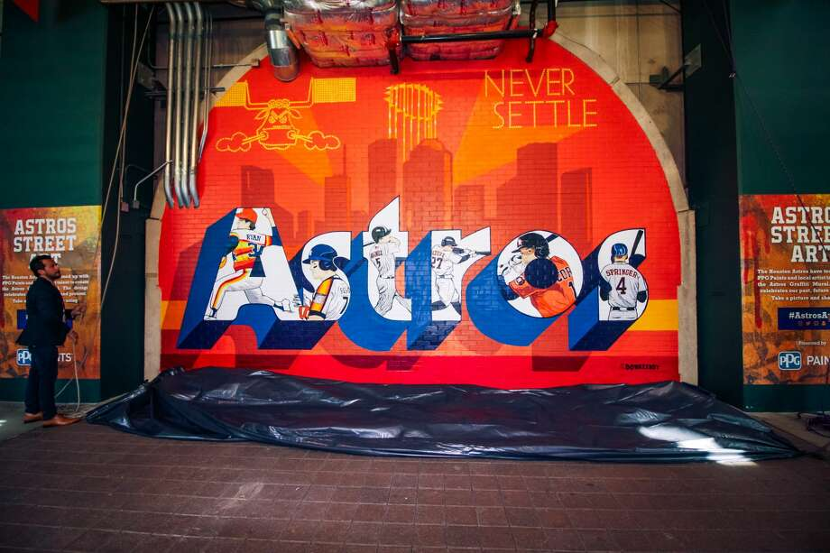 Artist Alex Roman, better known as Donkeeboy, unveiled his newest work during a ceremony at Minute Maid Park on May 31, 2018 in Houston, Texas. Photo: Marco Torres