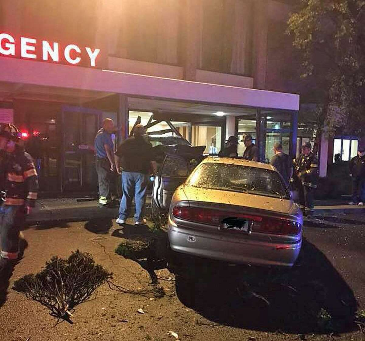 A car accident in a Griffin Hospital parking lot in Derby, Conn. damaged the Emergency Department entrance early Friday morning on June 1, 2018. No one was injured.