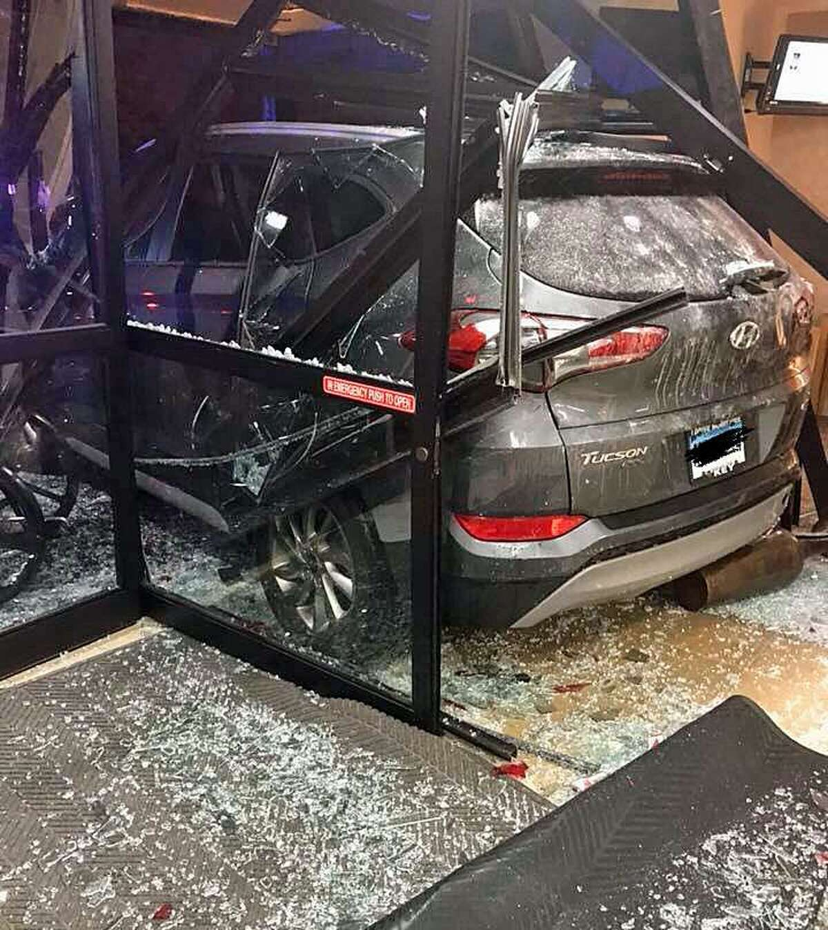 A car accident in a Griffin Hospital parking lot damaged to the Emergency Department entrance early Friday morning on June 1, 2018.