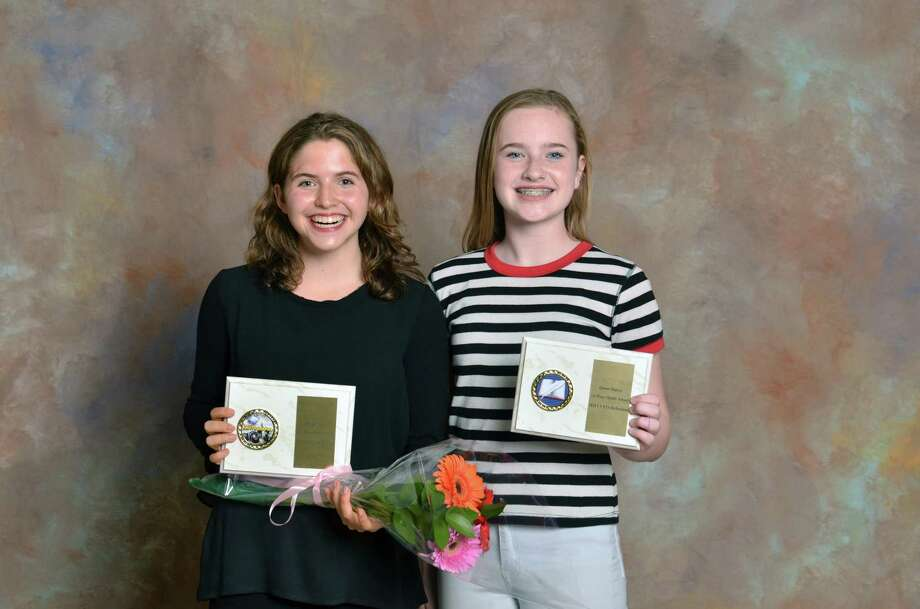 Rachel Suggs, of Staples High School, left, and Quinn Mulvey, of Bedford Middle School, won National PTA Awards in the Reflections Art Program. Photo: /