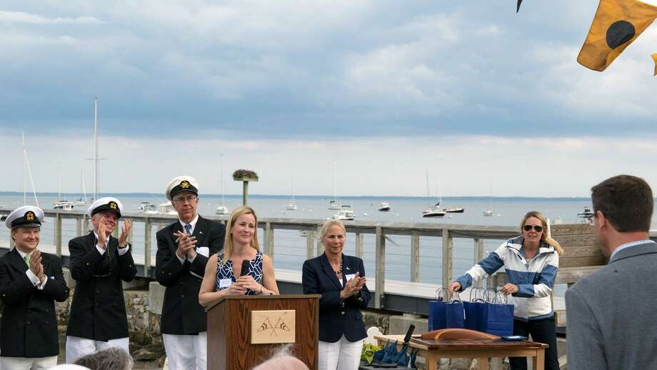 On May 20, Noroton Yacht Club Flag officers, fleet captain and committee chairs welcomed new members at the club's 90th commissioning and first season with a newly built clubhouse. From left, Rear Commodore Bob Lawrence, Vice Commodore Leo Schlinkert, Commodore Tom Ross, Membership co-chairwoman Kate Kuras, Fleet Captain Britt Hall and Membership co-chairwoman Suzanne Connor. Photo: / / Harry Milne