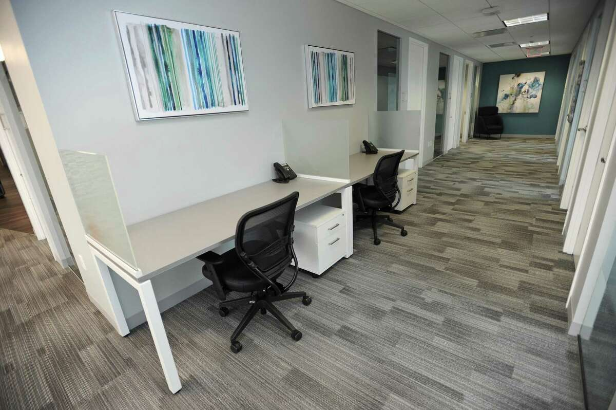 Offices inside Office Evolution's new co-working center are available to rent while there are desks and work spaces that can be reserved. The center is located at 750 E. Main St., in Stamford, Conn.