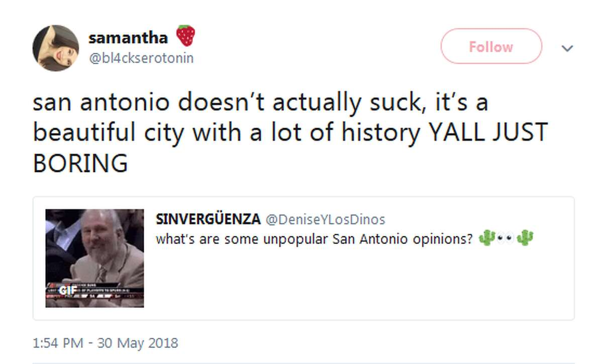 @bl4ckserotonin: san antonio doesn't actually suck, it's a beautiful city with a lot of history YALL JUST BORING