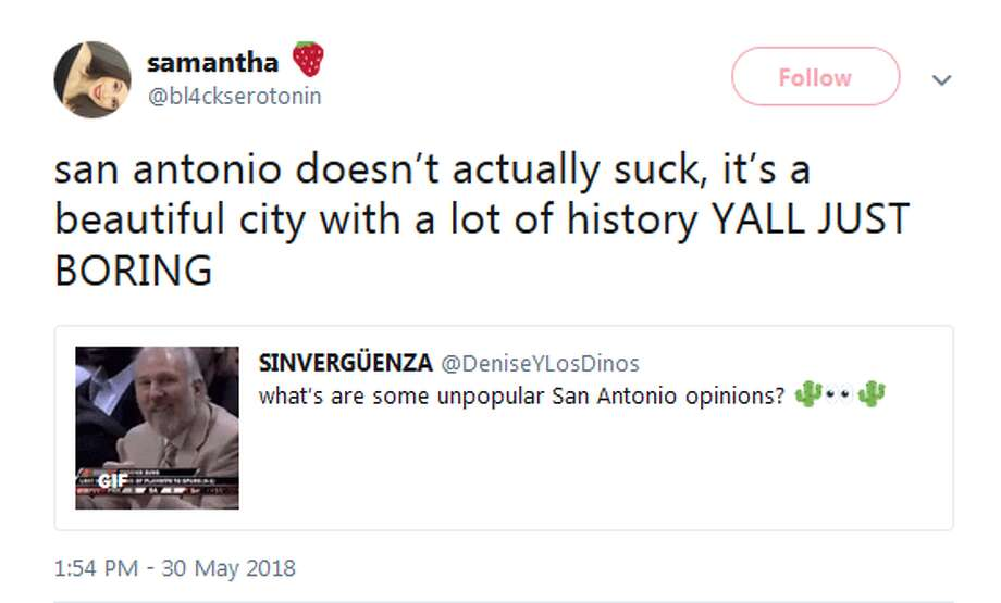 @bl4ckserotonin: san antonio doesn't actually suck, it's a beautiful city with a lot of history YALL JUST BORING Photo: Twitter Screengrabs