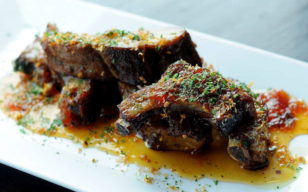 Sticky pork ribs at Max's Wine Dive. Chef Brandi Key is now overseeing the culinary program at the popular Houston restaurant and wine bar.