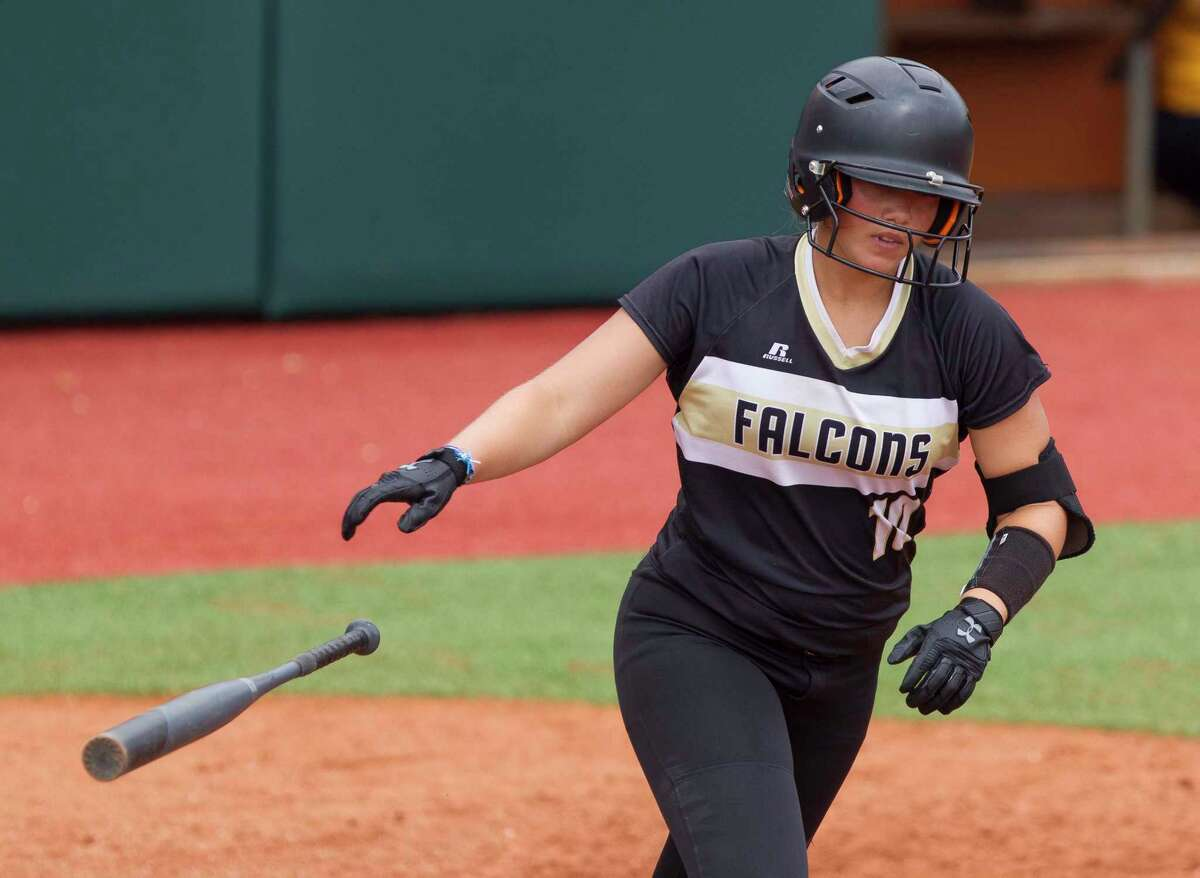 Leea Dempsey #10 of Foster draws a walk in the seventh inning of a Class 5A state semifinal game during the UIL State Softball Championships at Red & Charline McCombs Field on Friday, June 1, 2018, in Austin.