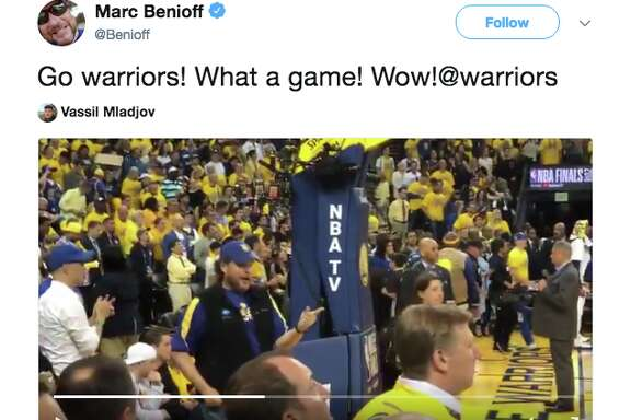 Marc Benioff dancing at Game 1 of the NBA Finals.