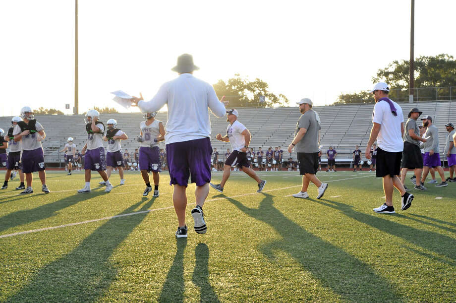 PN-G's Brandon Faircloth watches over the Indians as they practice in Port Neches. (Mike Tobias/The Enterprise)