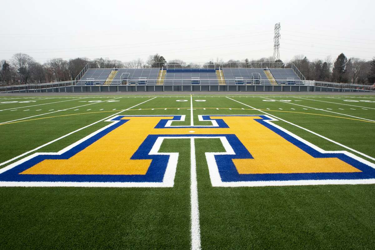The football field is ready behind the new Harding High School, which is still under construction in Bridgeport, Conn. Feb. 9, 2018. The city?'s school board hopes to name field ?
