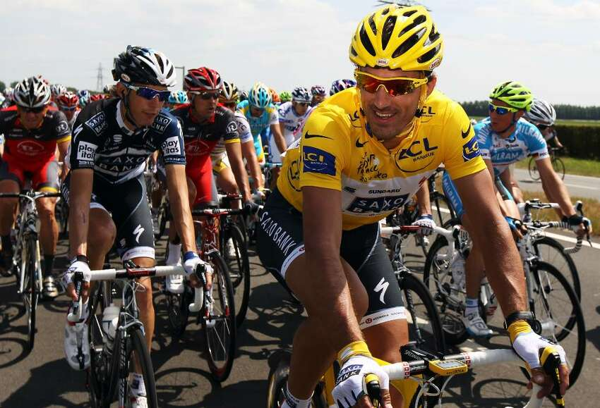 BRUSSELS, BELGIUM - JULY 04: Fabian Cancellara of Switzerland and Team Saxo Bank wears the race leader's yellow jersey during stage one of the 2010 Tour de France from Rotterdam to Brussels on July 4, 2010 in Brussels, Belgium. (Photo by Bryn Lennon/Getty Images) *** Local Caption *** Fabian Cancellara