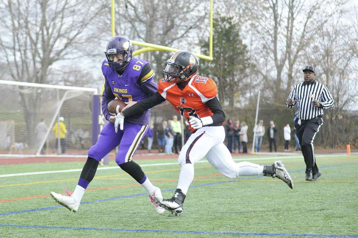 Former Stamford High safety Antonio Robinson became the first homicide in Stamford in 18 months on Thursday night. Here Robinson knocks the ball out of a Westhill receiver's hands before he could maintain possession for a touchdown in 2015.