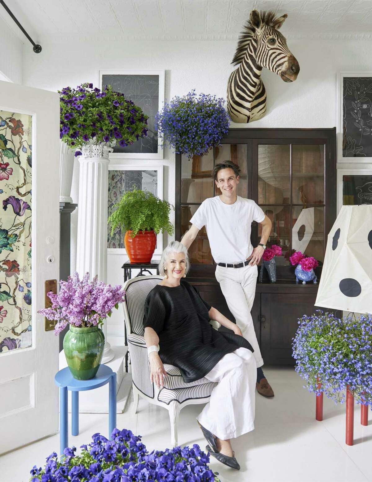 Having garnered the attention of the design world in just a half-dozen years, New York City-based Patrick Mele recently opened a design and decor shop in his hometown of Greenwich, which, like his firm, bears his name. He poses in the store with his mother, Patricia, who tends to shop business when Mele is working off-site on projects.
