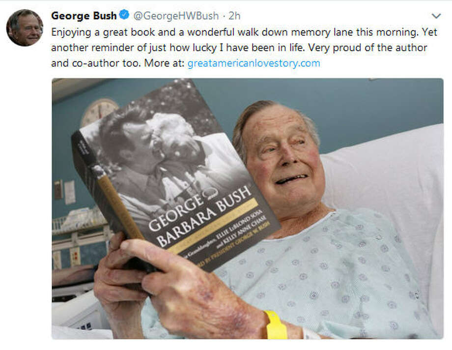 Former President George H.W. Bush tweeted from a hospital bed in Maine that he was enjoying a book about his relationship with his wife Barbara, who died April 17, 2018. Bush was discharged from the hospital on Monday June 4, 2018 after being treated for low blood pressure and fatigue.Scroll through to see his life with the former first lady Photo: George Bush On Twitter