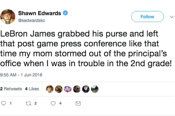 2c1a0f1bf48 2of15LeBron James grabbing his purse and walking out of a press conference  is the internet s new favorite GIF.Photo  Twitter